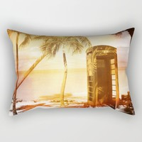 Vintage telephone booth yellow glow Rectangular Pillow by Christine Aka Stine1