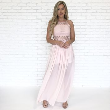 Land Of Love Crochet Maxi in Blush