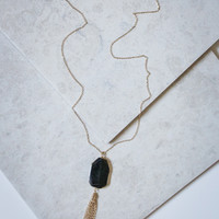 Black Stone and Tassel Necklace in Gold