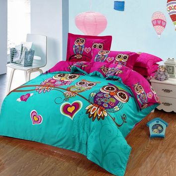 Adult/kids owl bedding set blue boys/girls duvet cover  bed sheet cartoon pattern bedspread king queen twin size bed linen