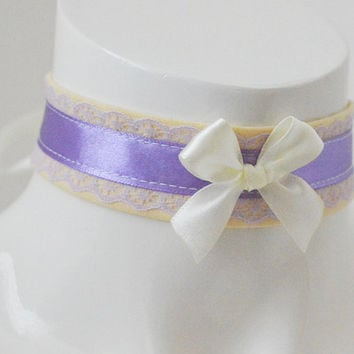Kitten play day collar - Lavender sunshine - ddlg princess fairy kei kawaii cute neko pet girl lolita costume - lilac and pastel yellow