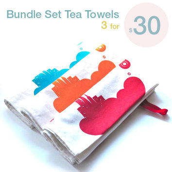 Limited Time Sale Bundle Set of Three Linen Cotton Sky City Tea Towels