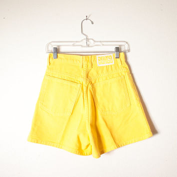 Vintage Yellow Denim Shorts | 80s Shorts High Waisted Shorts Bongo Shorts 80s Denim Shorts Festival Shorts Boho Grunge 90s Denim Shorts