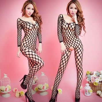 Sexy Lingerie hot see-through body stocking Sexy costumes Adult Sexy Woman Fishnet pajamas Clothes Intimate