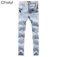 High Quality Design Fashion Men Biker Jeans Slim ripped Straight Denim cholyl  Jeans Men Elastic Skinny Mens Motorcycle Jeans
