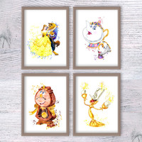 Beauty and the Beast Poster, Disney art print set Disney Princess, Belle, Beauty and the Beast, Disney Watercolor Painting illustration V160