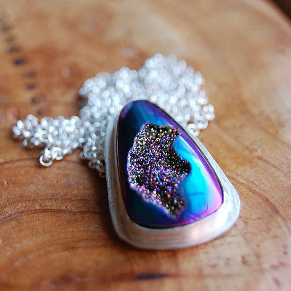 Midnight Crater  Blue Titanium Window Drusy and by MarKhed on Etsy