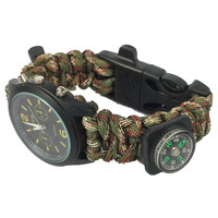 Travel Kit Watch With survival Flint Fire starter paracord Compass rescue Whistle rope