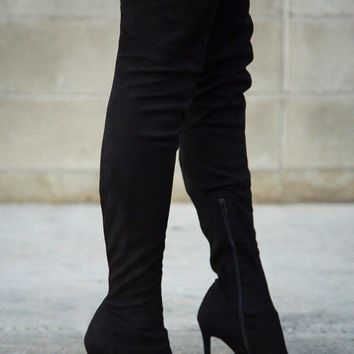 Gisele Pointy Toe Stiletto Black Suede Thigh High Boot