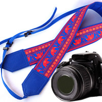 Blue DSLR / SLR Camera Strap. Lucky elephant Camera Strap. Camera accessories. For Sony, canon, nikon, panasonic, fuji and other cameras.