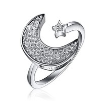 Silver Stars & Moon Finger Rings Open Adjustable Ring With Cubic Zircon