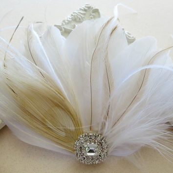 Ivory White Bridal Head Piece Champagne Peacock Feather Fascinator Vintage Wedding Hair Piece Rhinestone, Hair Accessory