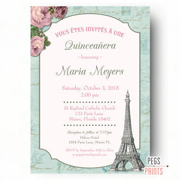 Shabby Chic Quinceanera Invitation (Printable) Paris Quinceanera Invitation -Quinceanera Invites - Quinceanera Invitations - Paris Birthday