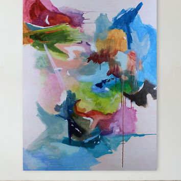 Large Painting Colorful Contemporary Landscape Painting, 36 x 48