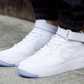ESBBE6 Nike Air Force 1 Flyknit Mid-High 817420-100 White For Women Men Running Sport Casual Shoes Sneakers