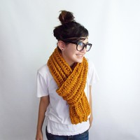 Mustard Scarf Crochet Long Made in a Pet Free Smoke Free enviornment by WithLoveFromLucille