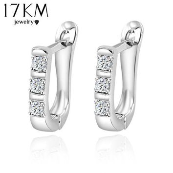 17KM Brand Gold Color Crystal Stud Earrings For Women pendientes brincos Dropshipping U Party Wedding Silver Color