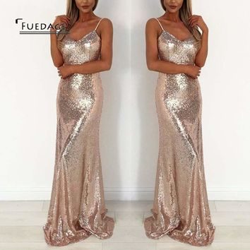 Fuedage Autumn Winter Sexy Women Sequined Party Dresses Vintage a8ce2684d80f