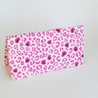 Fabric Checkbook Cover in Pink Leopard Print