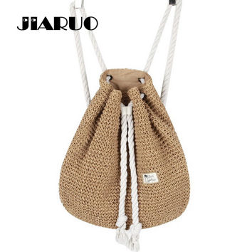 Korean Style Women Straw Backpack Bucket Sack Package Summer Beach Bag Travel Holiday Drawstring Backpack For Girls Female Bolsa