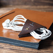 Leather Cord Holder - handmade, cord organizer, Earbud Cable Organizer, Earphone, Headphone, cable ties, cable tidy, gifts #Dark Brown