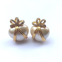 Joan Rivers Pearl Heart Earrings Designer Bridal Wedding Fashion Jewelry