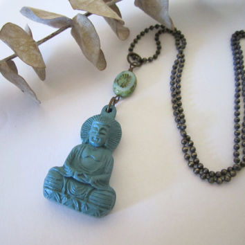 Chinese Cinnabar Buddha Necklace by 636designs on Etsy
