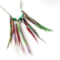 Fiber necklace, with wooden beads, fiber jewelry, felt necklace, felt jewelry