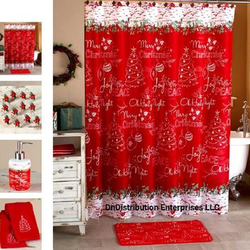 Christmas Holiday Themed Bathroom Collection Red & White Chalkboard Look Print