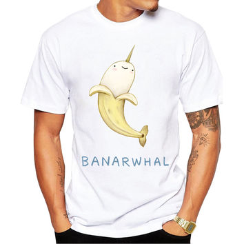 Banarwhale Banana Whale Unicorn Men's Short Sleeve Casual White T-Shirt