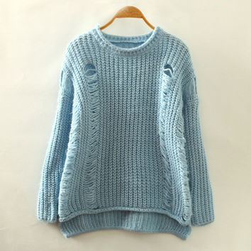 Blue Ripped Accent Casual Sweatshirt