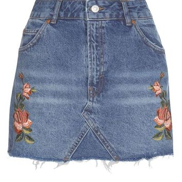 PETITE Rose Embroidered Skirt - Petite - Clothing
