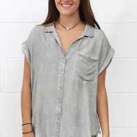 Washed Out Fringe Hem Button Down {Sage}