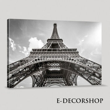Large Wall Art Modern France Paris Eiffel Tower Giclee Canvas Print Framed Huge 3 Panel | Eiffel Tower Canvas Printing