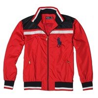POLO RALPH LAUREN 2018 autumn and winter new men's fashion wild loose cardigan jacket red