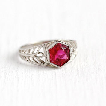 Simulated Ruby Ring - Vintage 10k White Gold Filigree Red Glass Stone Midi - Antique 1920s Art Deco Size 1 1/4 Baby Children's Fine Jewelry
