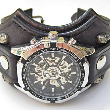 Biker Leather Skull Watch, Black Bikers Watch, Biker Jewelry, Genuine Smooth Leather Anti-Allergic Watch, Anti-Allergic Watch Cuff