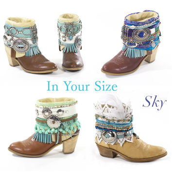 Upcyeld Belted Cowboy Boots Vintage Boots Boho Festival Boots Avant Gardy Gypsy Custom Made To Order