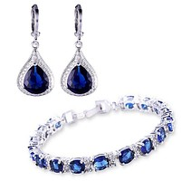 Beautiful Bracelet and Earring Jewelry Set with Created Blue Stones