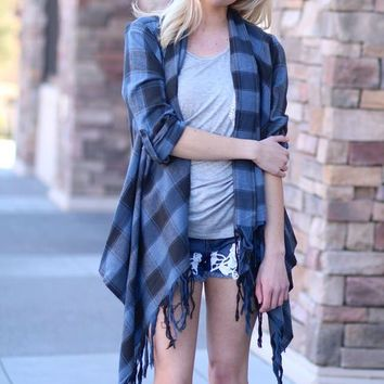 Flannel & Fringe Plaid Cardigan (Navy)