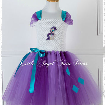 Rarity My Little Pony Tutu Dress - Handmade Fancy Dress Costume - Christmas Gift - Age 2 3 4 5 6 7 8 9 10 11