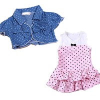Kids Summer Baby Girls Dress + tops Clothes 2Pcs Set Denim Waistcoat Outfits