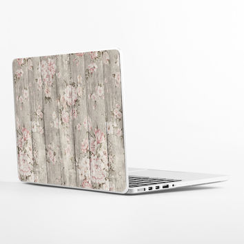 Wood Texture Floral Laptop Skin