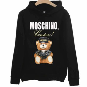 Moschino 2018 autumn new police officer bear print hooded long-sleeved sweater black