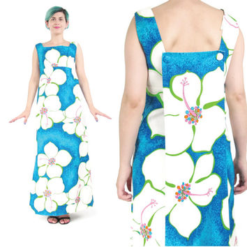 1960s Hawaiian Dress Blue White Floral Tropical Floral Dress Pinup Hawaiian Maxi Dress Train Dress Sleeveless Resort Floor Length Dress (S)