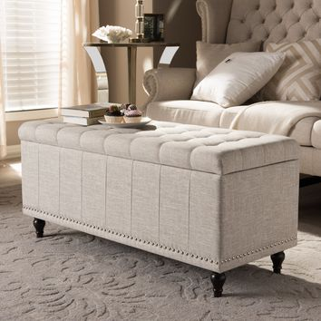 Baxton Studio Kaylee Modern Classic Beige Fabric Upholstered Button-Tufting Storage Ottoman Bench Set of 1