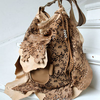 Tan lace leather exclusive design ONLY ONE openwork light brown nude sweet smoke bags hobo bohemian wedding asymmetrical raw edges boho XXL