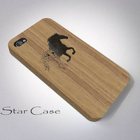 iPhone 5 Case Wood Print, iPhone 5s Case, iPhone 4 Case, iPhone 4s Case, Wooden iPhone Case, Black Horse iPhone Cover Gift for Him iPhone 5