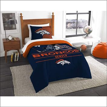 """Broncos OFFICIAL National Football League, Bedding, """"""""Draft"""""""" Printed Twin Comforter (64""""""""x 86"""""""") & 1 Sham (24""""""""x 30"""""""") Set  by The Northwest Company"""