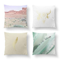 SET of 4 Pillows, Desert Landscape, Boho Desert Pillow, Cushion Cover, Bull Skull Decor, Aloes Mint, Gold Pillow, Bed Pillow, Throw Pillow